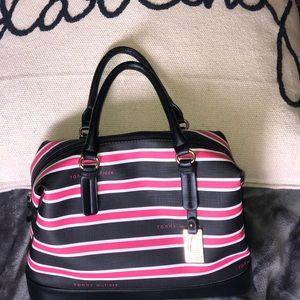 Tommy Hilfiger bag! Color black/pink stripes